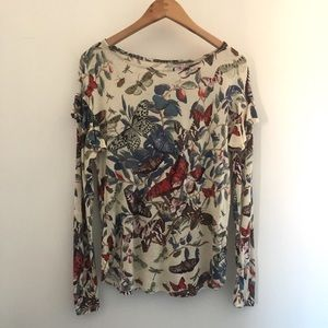 H&M Butterfly Print Long Sleeve with Ruffles
